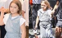 Harper xinh xắn như thiếu nữ khi đi mua sắm với mẹ và anh trai