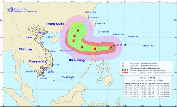Siêu bão Yutu với sức gió giật cấp 17 đang tăng tốc tiến vào biển Đông
