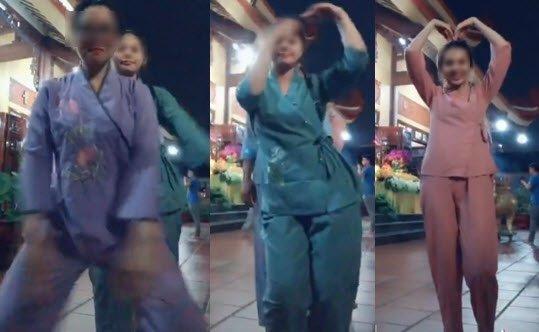 5 bạn nữ mặc đồ phật tử uốn éo giữa sân chùa và cái kết đắng từ dân mạng